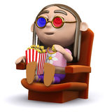 3d Hippy at the movies Stock Photography