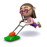 3d Hippy mowing the grass Royalty Free Stock Photos