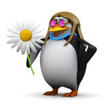 3d Hippy penguin flower child Royalty Free Stock Photos