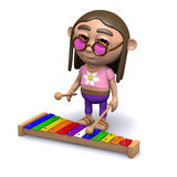 3d Hippy plays the xylophone Royalty Free Stock Images