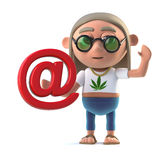 3d Hippy stoner has an email address Royalty Free Stock Photography