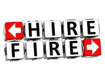 3D Hire Fire Button Click Here Block Text. Over white background Royalty Free Stock Photography