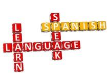 3D Hiszpańskiego języka Crossword Zdjęcie Royalty Free