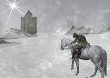 D'hiver de voyageur illustration à froid à cheval Image stock