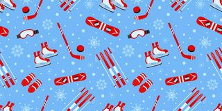 D'hiver fond dehors Modèle sans couture de vecteur d'article de sport Hockey sur glace, patinant, ski, faisant du surf des neiges illustration de vecteur