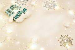 D'hiver toujours la vie de fête Mitaines blanches tricotées Images stock