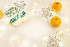 D'hiver toujours la vie de fête Mitaines et mandarines blanches tricotées Image stock