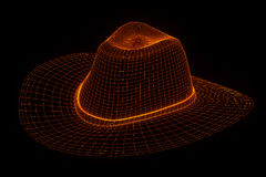 3D Hoed GLB in Wireframe-Hologramstijl Het 3D Teruggeven van Nice Royalty-vrije Stock Foto