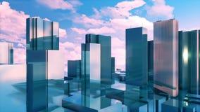 3D hoge voorgevels van de de bezinningsspiegel van stijgingsgebouwen 4K stock illustratie
