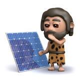 3d Holbewoner met zijn nieuw zonnepaneel Royalty-vrije Stock Fotografie