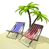 3D holiday, deckchairs concept Royalty Free Stock Photography
