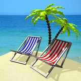 3D holiday, deckchairs concept Royalty Free Stock Images