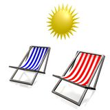 3D holiday, deckchairs concept Stock Photo