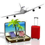3D holiday, plane concept. 3D travel suitcase, deckchairs, passenger plane, palm trees, beach - great for topics like summer holiday etc Royalty Free Stock Photography