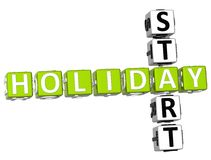 3D Holiday Start Crossword. On white background Royalty Free Stock Photo