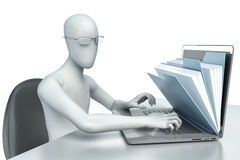 3d hombre - carácter humano, persona a una oficina y un ordenador portátil Fotos de archivo libres de regalías