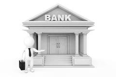 3d hombre de negocios Characters Inviting en el edificio de banco renderin 3D Imagen de archivo libre de regalías