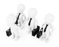 3d hombre de negocios Characters Shaking Hands representación 3d Fotos de archivo libres de regalías