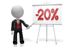 3D hombre de negocios - el veinte por ciento apagado Imágenes de archivo libres de regalías