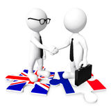 3D hombre de negocios Handshaking en el rompecabezas de la bandera ilustración del vector