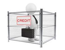 3d hombre de negocios Person dentro de una cerca atada con alambre del crédito representación 3d Imagen de archivo