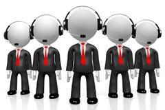 3D hombres de negocios - concepto del centro de atención telefónica Foto de archivo libre de regalías