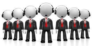 3D hombres de negocios - concepto del centro de atención telefónica Imágenes de archivo libres de regalías