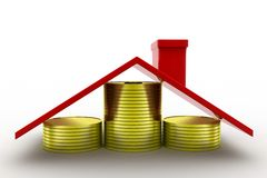 3d home coins Stock Photography