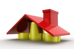 3d home coins Stock Images