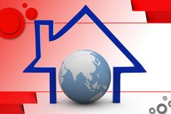3d home and earth icon illustration Royalty Free Stock Images