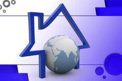 3d home and earth icon illustration Royalty Free Stock Photos