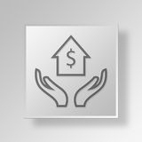 3D home equity Button Icon Concept Royalty Free Stock Photography