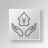 3D home equity Button Icon Concept Royalty Free Stock Photos