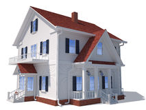 3D home exterior. Render of home exterior isolated on white royalty free illustration