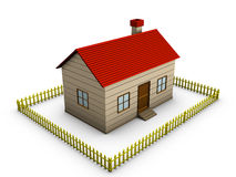 3D Home with Fence Stock Photography
