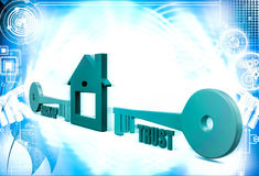 3d home icon with back up and trust key illustration Royalty Free Stock Photo