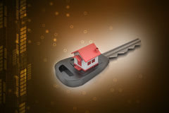 3d home with key Royalty Free Stock Photos