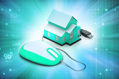 3d Home with mouse Royalty Free Stock Photo