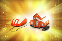 3d Home with mouse Stock Photos