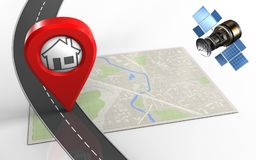3d home pin Stock Photography