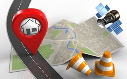 3d home pin. 3d illustration of map paper with home pin and repair cones Royalty Free Stock Images