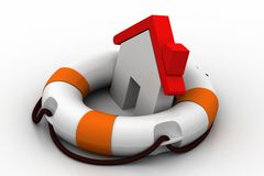 3d home  using lifebuoy Stock Photography