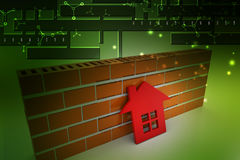 3d home with wall. In color background Stock Image