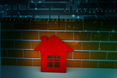 3d home with wall. In color background Royalty Free Stock Image