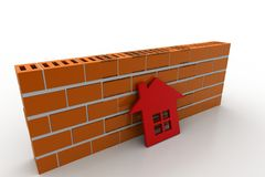 3d home with wall. In white background Royalty Free Stock Photo