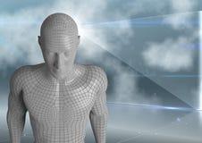 3D homem branco AI contra a tela e as nuvens de vidro Imagem de Stock Royalty Free