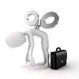3d homem com uma chave grande na parte traseira, eficiência no conceito do negócio Imagens de Stock