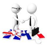 3D homem de negócios Handshaking na serra de vaivém da bandeira Fotografia de Stock Royalty Free