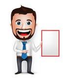 3D homem de negócios realístico Cartoon Character Teaching ou guardar Imagem de Stock