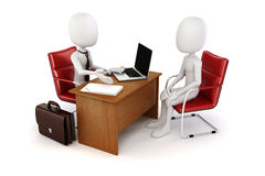 3d homem, reunião de negócios, entrevista de trabalho Imagens de Stock